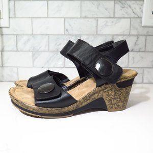 Rieker Wedge Black Sandals